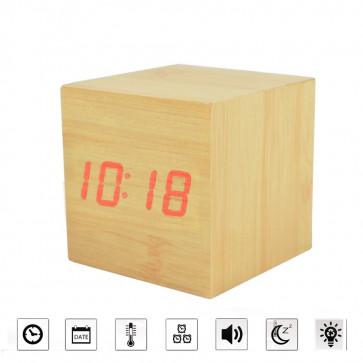 Jenifer NTR-DIG1 Budík drevená kocka digitálny, prírodný
