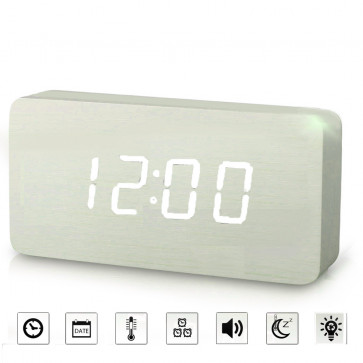Jenifer Budík drevený digitálny, biela farba, hodiny na stenu, biely budik, digitalny budik