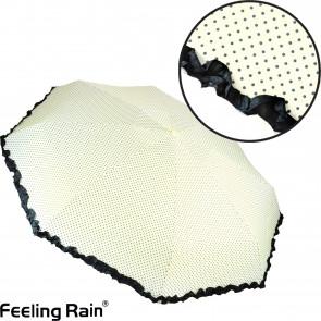 Feeling Rain SW429 Skladací dáždnik do kabelky 19cm, bodkovaný, biela