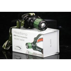 BAILONG MONT-6808 (BL-6808) LED čelovka so zoomom, nabíjateľná
