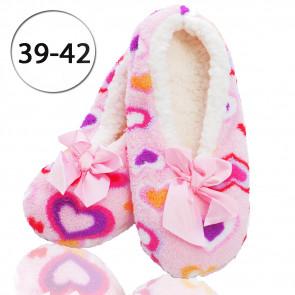 Emi Ross Ej-0223-PN4 Dámske papuče - balerínky z ovčej vlny, 39-42 srdiečka, ružová