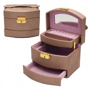 Kufríková retro šperkovnica so zrkadlom na kľúč, šperkovnica so zrkadlom na kľúč, kufríkova šperkovnica