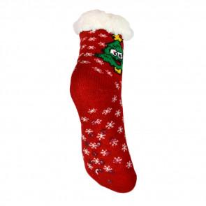 LOOKeN SM-HL-1275MC Detské ponožky na spanie z ovčej vlny, 29-32, vianočný motív, červená