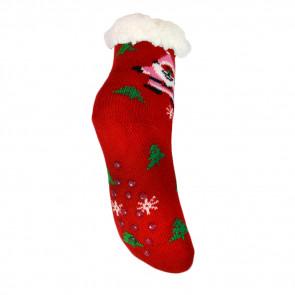 LOOKeN SM-HL-7125MC Detské ponožky na spanie z ovčej vlny, 29-32, vianočný motív, červená