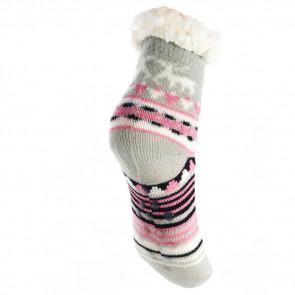 LOOKeN SM-HL-7202-GP2 Detské ponožky na spanie z ovčej vlny, 26-28 vianočný motív, šedo-ružová