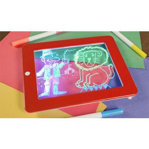 Magic Pad No.8113 Magická LED tabuľa na kreslenie, svietiaca LED doska 25,5 x 19 cm, červená
