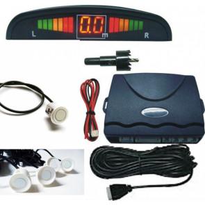 TFY No.0570 Parkovacie senzory s LCD displejom, biela