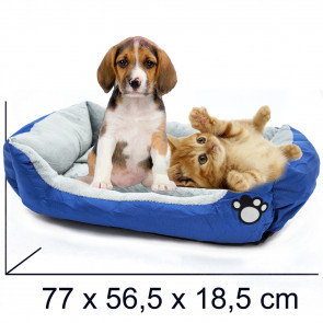 PET COMFORT Rectangle-Cheerful 12 Pelech pre psa modro-šedý, 77 x 56,5 x 18,5 cm (L)