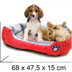 PET COMFORT Rectangle-Convenient 5 Pelech pre psa červeno-šedý, 68 x 47,5 x 15 cm (M)