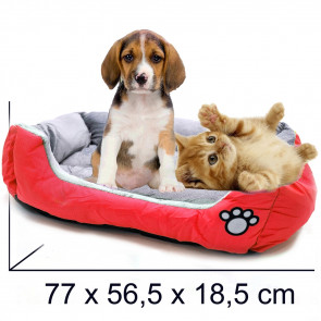 PET COMFORT Rectangle-Happy 6 Pelech pre psa červeno-šedý, 77 x 56,5 x 18,5 cm (L)