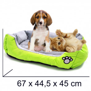 PET COMFORT Rectangle-Soft 2 Pelech pre psa zeleno-šedý, 67 x 44,5 x 45 cm (M)