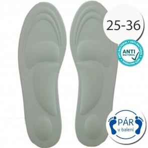 SISI NO.80509-5-Grey Antibakteriálne vložky do topánok, anatomické, veľ.25-36, šedá