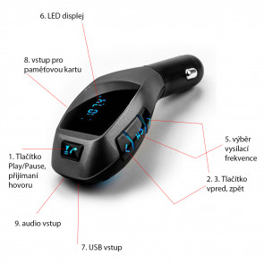TFY 1598-gold X6 FM transmitter Bluetooth, 87,5 – 108,0 MHz, MP3  WMA, PK, USB, zlatá