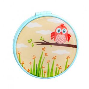 TFY Mini Mirror Owl3 Zrkadielko do kabelky, okrúhle, modré
