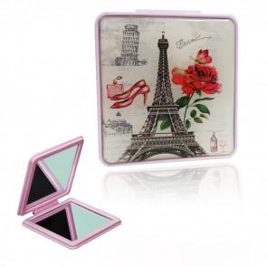 TFY Mini Mirror vintage10 Zrkadielko do kabelky, hranaté, fialové