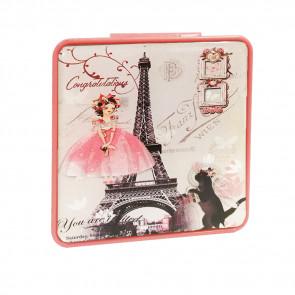 TFY Mini Mirror vintage6 Zrkadielko do kabelky, hranaté, ružové
