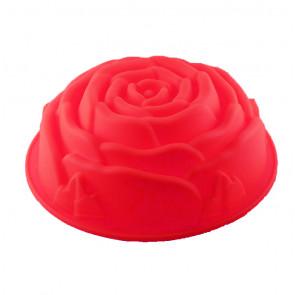 TFY SF5026 Silikónová forma na pečenie bábovky ruža 26x9cm, červená