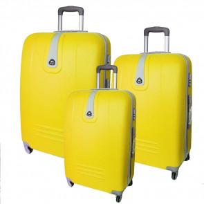 ORMI KF2 Sada 3 škrupinových cestovných kufrov, žltá, 70x45x24cm / 60x40x21cm / 50x35x19cm